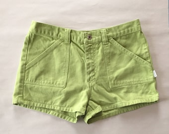 90s GUESS micro mini shorts | chartreuse green denim shorts