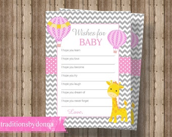WISHES FOR BABY Cards Baby Shower Game for Girl | Giraffe Baby Shower | Hot Air Balloon Baby Shower | Pink and Gray Baby Shower Activity