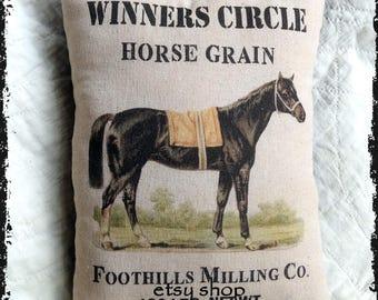 Primitive Winners Circle Feed Grain Feedsack Type Pillow or Panel #61