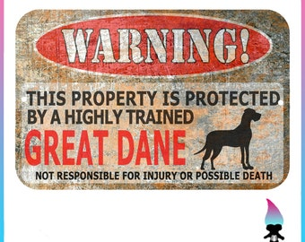 Great Dane Sign - Dane Dog - Funny Metal Signs - Warning Sign - Protected by - Gentle Giant - Sign - Dog Lover Gift