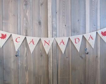 CANADA burlap banner - burlap pennant - burlap bunting