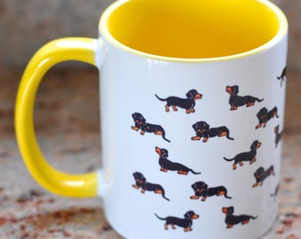 Dachshund Sausage Mug Dog Puppy Print Pattern Yellow