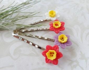 Pretty Spring Daffodil Hair Clips