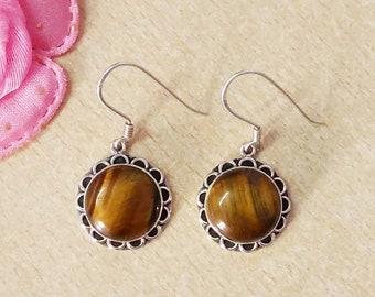 NATURAL TIGER'S EYE Gemstone Studded In Solid 925 Sterling Silver Earrings, Handmade Dangle Earrings, November Birthstone