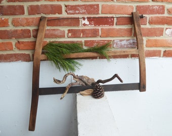 Vintage/Primitive Double Handle Hand Tree Saw