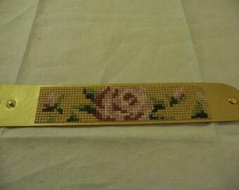 Cross Stitched Vegan Leather Bracelet (Gold)
