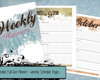 PRINTABLE Seasons 2018 Full Size Planner Week on 2-Pages Dated Schedule Inserts