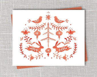 Folklore Rabbit Holiday Card Printable Digital Download