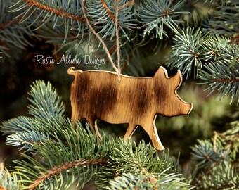 Custom handmade burnt wood Pig ornaments - Set of 3