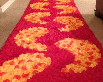 Bright Yellow Orange, Fire Orange and Red Paisley Silk Rose Petal Aisle Runner, Paisley Aisle Runner, Indian Wedding, Custom Aisle Runner