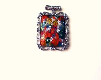 Millefiori Flower Pendant, Rainbow Multi Color Silver Plated Millefiori Pendant