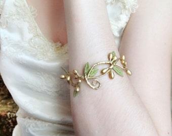 vine bracelet, bridesmaid gift, bridal bracelet cuff, bridesmaid jewelry gold, floral jewelry, sage bridesmaid, gold cuff bracelet w/ribbon