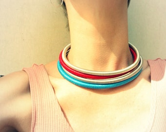 African Choker, Bib Necklace, Handmade Jewelry Tribal Neckrings, set, Silver, Blue, Red, Wrapped
