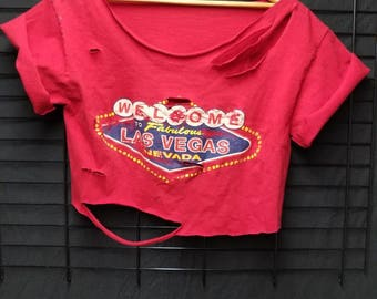 Welcome to Vegas Distressed Shredded Crop Top Tshirt