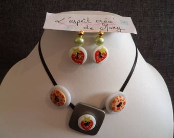 set: necklace and earrings design button Strawberry
