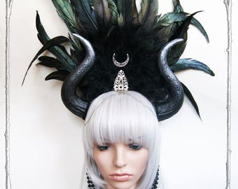 "Horn Headdress ""Luna"" ( Goth , Fantasy, Headpiece )"