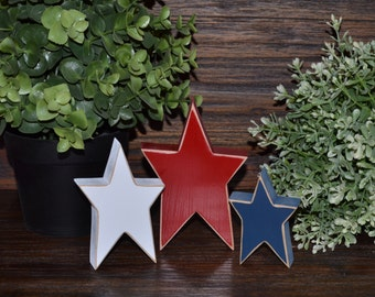 STARS-4th of July Decor Patriotic Wood Block Set Independence Day Presidents Day Flag Americana Gift Military Mom Add-on school colors