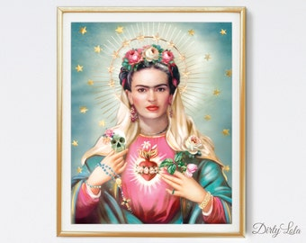 Our Lady of Eyebrows  - Religious - Day of the Dead - Art Print - Illustration - Portrait - Painting- Portrait - Home Decor -