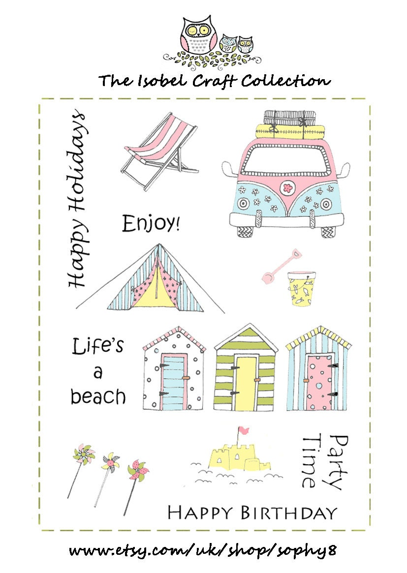 A6 set of photo-polymer clear stamps - BEACH SCENE DESIGN from ... Embroidery Designs Home Im E A on