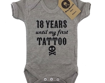 18 years until my first tattoo grey printed baby vest alternative goth rock