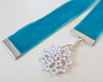 Turquoise Velvet Ribbon Bookmark w/White flower with rhinestone centers