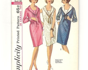 1960s DRESS ~ Mod Straight Shift Dress ~ Vintage Sewing Pattern Pencil Skirt Sailor Style Shawl Collar ~ 1 pc Dress ~ Misses Size 12 Bust 32