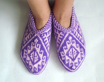 knit slippers, pink purple Turkish Knitted Socks Slippers, woman slippers, knitted home shoes, gift for woman house shoes, geometric socks