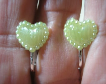 """Play Earring - Clip or Pierced - Tiny Heart - Pale Green Satin - 3/8"""""""
