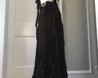 Vintage 1930s chocolate brown silk velvet skirt with rhinestone belt buckle and matching capelet shawl - 30s