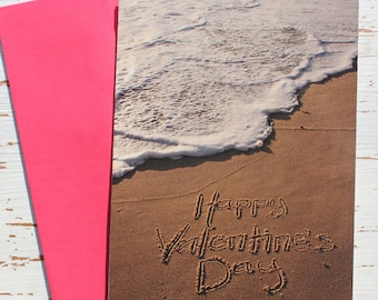 Happy Valentine's Day Beach Writing Card, Valentines Day, Ocean, Beach, Photo Card,