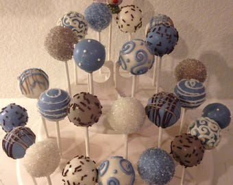 24 any COLOR MATCH cake pops, 2 or 3 colors, CUSTOM, match your invitations, 2 dozen, any flavor