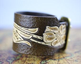 Leather cuff bracelet, Tooled leather bracelet
