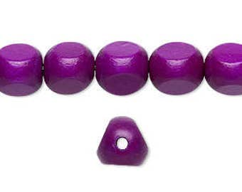 40pcs Wood Beads 10mm Rounded Triangle Dark Purple 16 Inches Strands
