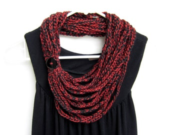 crochet chain scarf - necklace scarf - scarflette - infinity scarf - autumn red and black - handmade by RockinLola