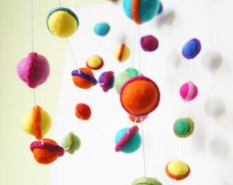 Felt Ball Garland, Felt Garland, Solar System Garland, Christmas Garland, Garland, Felt Ball, Ball Garland, Galaxy Garland, PomPom Garland,