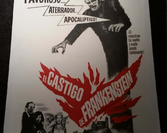 Original 1964 The Evil Of Frankenstein Spanish One Sheet Movie Poster, Linenbacked, Horror, Peter Cushing
