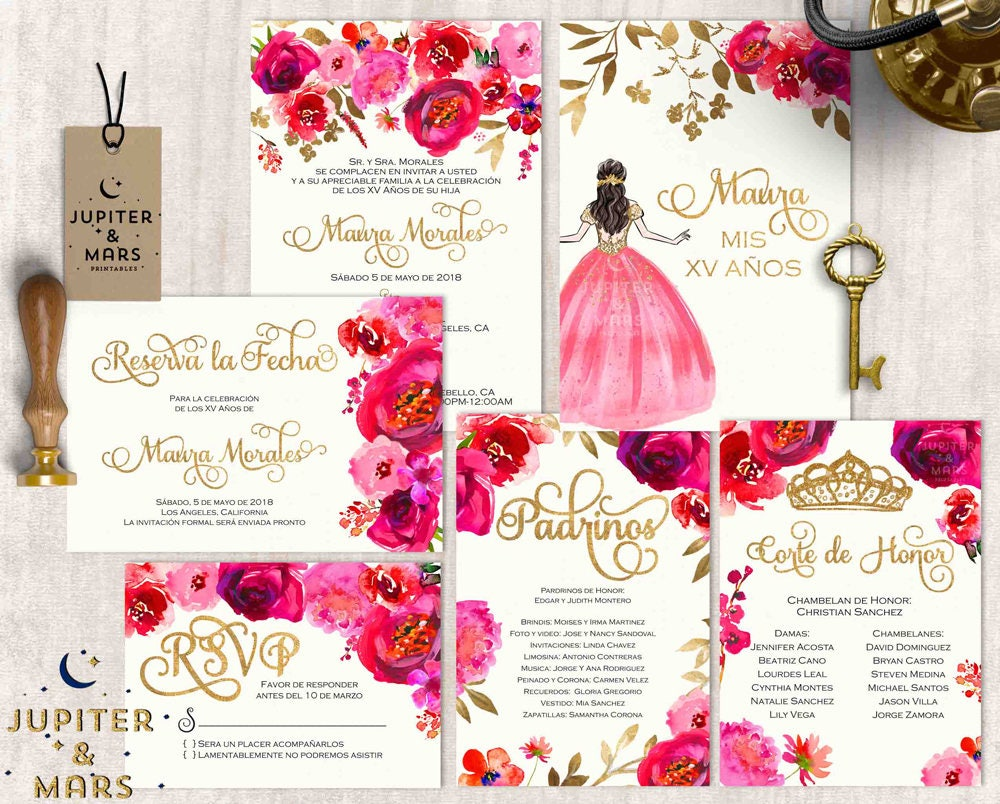 Red Pink Gold Quinceañera Invitation Quinceanera