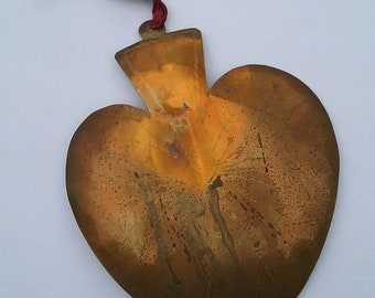 Antique Ex-Large Mexican Brass Heart Milagros Exvoto
