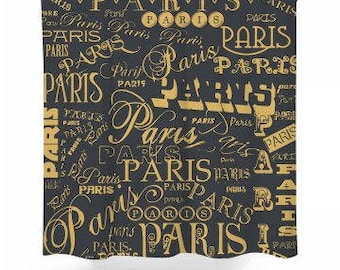Black U0026 Gold Paris Shower Curtain
