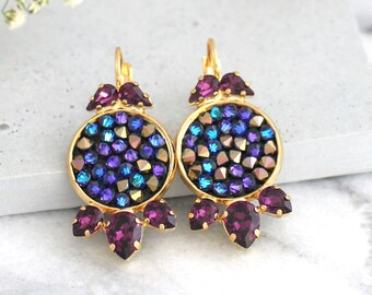 Purple Earrings, Purple Drop Earrings, Bridal Purple Earrings, Gift For Her, Swarovski Earrings, Amethyst Dangle Earrings, Orchid Earrings