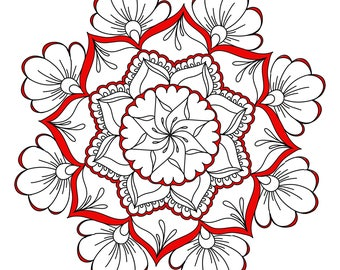 Printable Foral Manadala Coloring Page, adult coloring page, flowers,