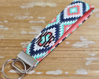 Monogrammed Aztec/Tribal Key Fob in Wristlet or Mini Length - Key Chain - Embroidered