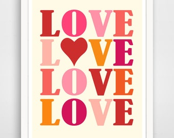 Children's Wall Art / Nursery Decor LOVE print by Finny and Zook
