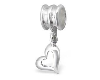 Silver Floating Heart Charm Dangle, fits Pandora Bracelets or Any Necklace