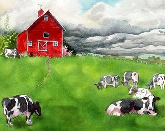 Red barn, Prints, Sale, Country, Wall Art, Landscape, Prints, Watercolor Barn, Painting, Farm, landscape, Cow art prints, WatercolorbyMuren