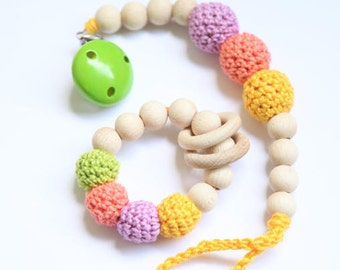 Teething toy and pacifier clip. Teething Set of 2. Rattle, baby shower gift