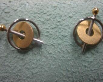 Platinum and 18 Karat Gold Earrings