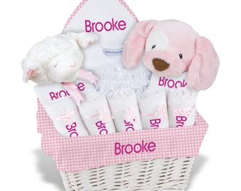 Personalized baby gift basket baby girl gift basket 2 bibs personalized baby gift basket baby girl gift basket 2 bibs 5 burp cloths negle Images