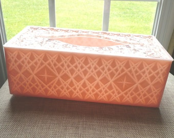 Vintage Pink and Clear Acrylic Lucite Plastic Kleenex Tissue Box Holder-Starburst Diamond- 1963