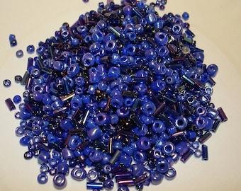 Ocean Blue seed, E, and Bugle Bead Mix - B108